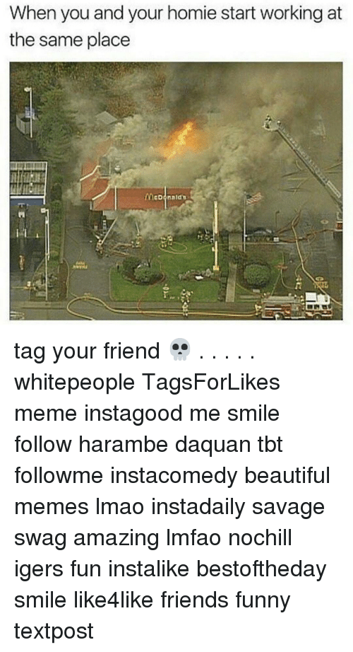 Daquan, Funny, and Homie: When you and your homie start working at  the same place  McDonald tag your friend 💀 . . . . . whitepeople TagsForLikes meme instagood me smile follow harambe daquan tbt followme instacomedy beautiful memes lmao instadaily savage swag amazing lmfao nochill igers fun instalike bestoftheday smile like4like friends funny textpost