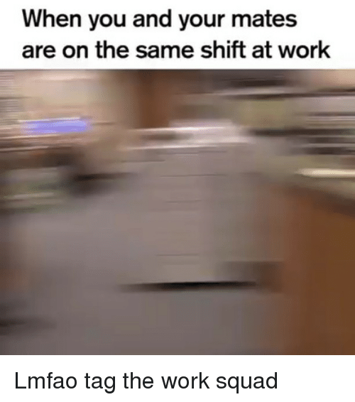 Funny, Squad, and Work: When you and your mates  are on the same shift at work Lmfao tag the work squad