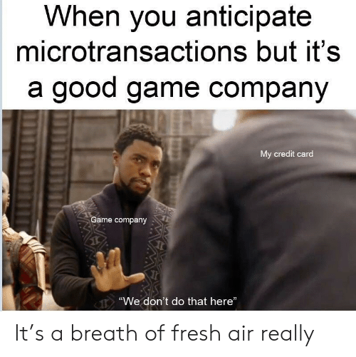 """Breath Of Fresh Air: When you anticipate  microtransactions but it's  a good game company  My credit card  Game company  """"We don't do that here"""" It's a breath of fresh air really"""