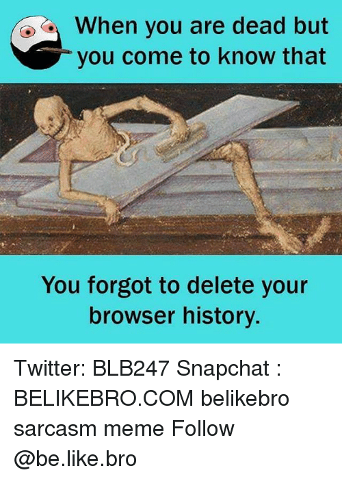 Browsers: When you are dead but  you come to know that  You forgot to delete your  browser history. Twitter: BLB247 Snapchat : BELIKEBRO.COM belikebro sarcasm meme Follow @be.like.bro