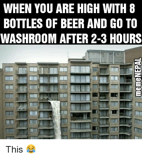 You Are High: WHEN YOU ARE HIGH WITH 8  BOTTLES OF BEER AND GO TO  WASHROOM AFTER 2-3 HOURS This 😂