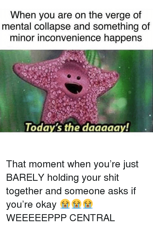 Memes, Shit, and Inconvenience: When you are on the verge of  mental collapse and something of  minor inconvenience happens  Todays the daagaay! That moment when you're just BARELY holding your shit together and someone asks if you're okay 😭😭😭WEEEEEPPP CENTRAL