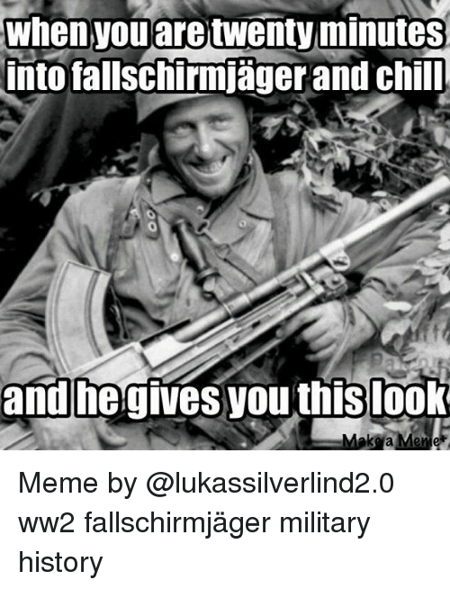 Chill, Memes, and History: When you are  twenty minutes  into fallschirmjager and chill  and he gives you this look  Meme Meme by @lukassilverlind2.0 ww2 fallschirmjäger military history