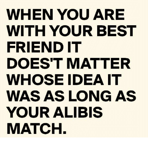 Dank, Best, and Match: WHEN YOU ARE  WITH YOUR BEST  FRIENDIT  DOES'T MATTER  WHOSE IDEA IT  WAS AS LONG AS  YOUR ALIBIS  MATCH