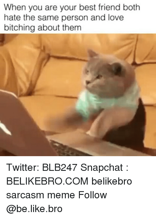 Be Like, Best Friend, and Love: When you are your best friend both  hate the same person and love  bitching about them Twitter: BLB247 Snapchat : BELIKEBRO.COM belikebro sarcasm meme Follow @be.like.bro