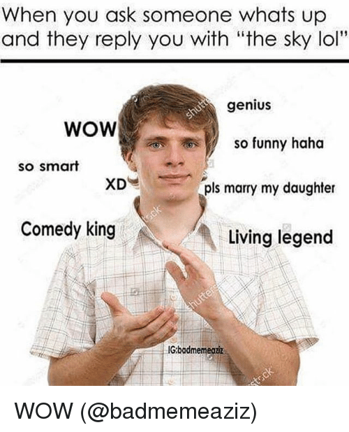 """Funny, Lol, and Memes: When you ask someone whats up  and they reply you with """"the sky lol""""  genius  WOW  so funny haha  so smart  pls marry my daughter  Comedy king  Living legend  IGbadmemeouz WOW (@badmemeaziz)"""