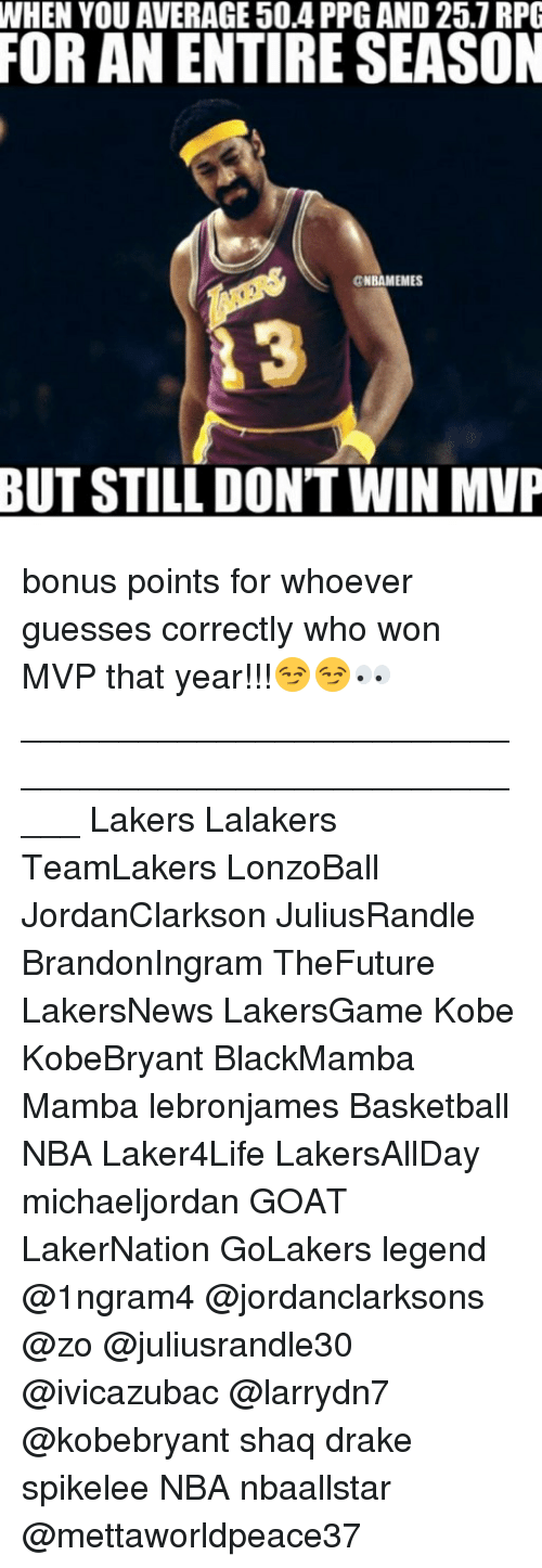 Basketball, Drake, and Los Angeles Lakers: WHEN YOU AVERAGE 50.4 PPG AND 25.7 RPG  FOR AN ENTIRE SEASON  CNBAMEMES  3  BUT STILL DON'T WIN MVP bonus points for whoever guesses correctly who won MVP that year!!!😏😏👀 _____________________________________________________ Lakers Lalakers TeamLakers LonzoBall JordanClarkson JuliusRandle BrandonIngram TheFuture LakersNews LakersGame Kobe KobeBryant BlackMamba Mamba lebronjames Basketball NBA Laker4Life LakersAllDay michaeljordan GOAT LakerNation GoLakers legend @1ngram4 @jordanclarksons @zo @juliusrandle30 @ivicazubac @larrydn7 @kobebryant shaq drake spikelee NBA nbaallstar @mettaworldpeace37