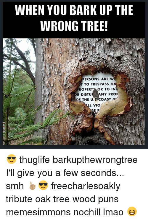 Wood Puns: WHEN YOU BARK UP THE  WRONG TREE!  PERSONS ARE W  T TO TRESPASS o  ROPERTY OR TO I  OR DISTU  ANY PRO  E THE U. S OAST G  L VIO  E P 😎 thuglife barkupthewrongtree I'll give you a few seconds... smh ☝🏽️😎 freecharlesoakly tribute oak tree wood puns memesimmons nochill lmao 😆