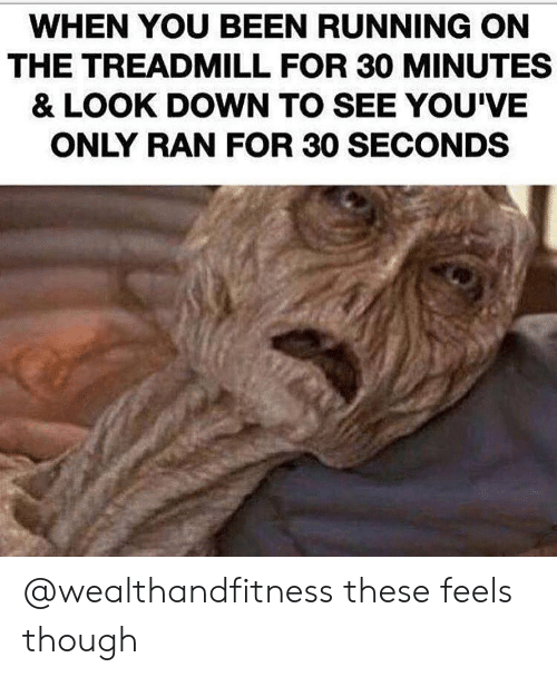 Treadmill: WHEN YOU BEEN RUNNING ON  THE TREADMILL FOR 30 MINUTES  & LOOK DOWN TO SEE YOU'VE  ONLY RAN FOR 30 SECONDS @wealthandfitness these feels though
