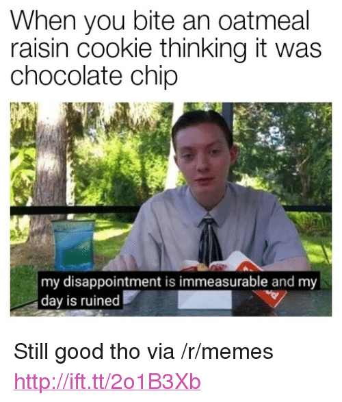 """Chocolate Chip: When you bite an oatmeal  raisin cookie thinking it was  chocolate chip  SP  my disappointment is immeasurable and my  day is ruined <p>Still good tho via /r/memes <a href=""""http://ift.tt/2o1B3Xb"""">http://ift.tt/2o1B3Xb</a></p>"""
