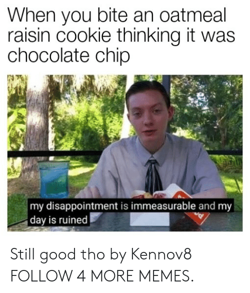 Chocolate Chip: When you bite an oatmeal  raisin cookie thinking it was  chocolate chip  my disappointment is immeasurable and my  day is ruined Still good tho by Kennov8 FOLLOW 4 MORE MEMES.