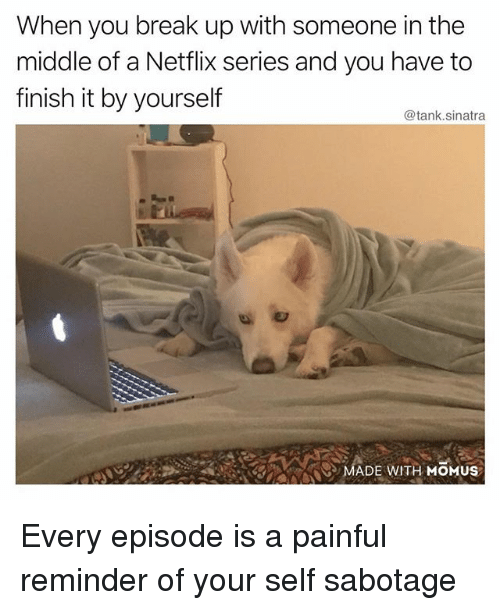 Funny, Netflix, and Break: When you break up with someone in the  middle of a Netflix series and you have to  finish it by yourself  @tank.sinatra  /..  MADE WITH MOMUS Every episode is a painful reminder of your self sabotage