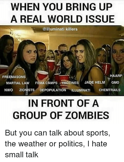Memes, The Weather, and 🤖: WHEN YOU BRING UP  A REAL WORLD ISSUE  @illuminati killers  HAARP  FREEMASONS  MARTIAL LAw FEMA CAMPS VACCINES  JADE HELM  GMO  NWO ZIONISTS DEPOPULATION ILLUMINATI  CHEMTRAILS  IN FRONT OF A  GROUP OF ZOMBIES But you can talk about sports, the weather or politics, I hate small talk
