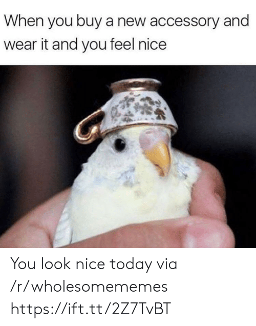Wear It: When you buy a new accessory and  wear it and you feel nice You look nice today via /r/wholesomememes https://ift.tt/2Z7TvBT