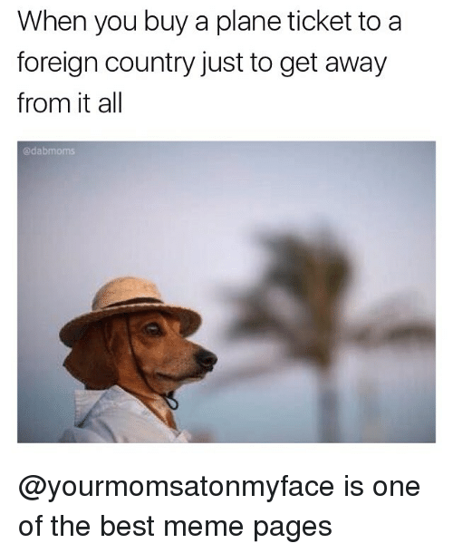 Memes, Plane Tickets, and 🤖: When you buy a plane ticket to a  foreign country just to get away  from it all  dabmoms @yourmomsatonmyface is one of the best meme pages