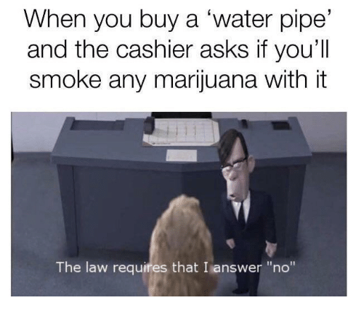 """water pipe: When you buy a 'water pipe'  and the cashier asks if you'll  smoke any marijuana with it  The law requires that I answer """"no"""""""