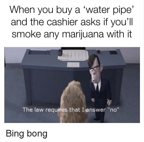 "bing bong: When you buy a 'water pipe'  and the cashier asks if you'll  smoke any marijuana with it  The law requires that I answer ""no"" <p>Bing bong</p>"