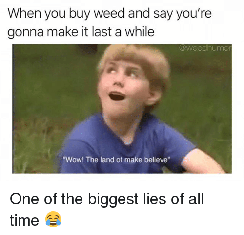 """Weed, Wow, and Marijuana: When you buy weed and say you're  gonna make it last a while  @weedhumo  """"Wow! The land of make believe One of the biggest lies of all time 😂"""