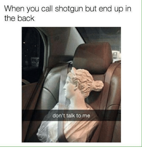 Don't Talk to Me, Back, and Shotgun: When you call shotgun but end up in  the back  don't talk to me
