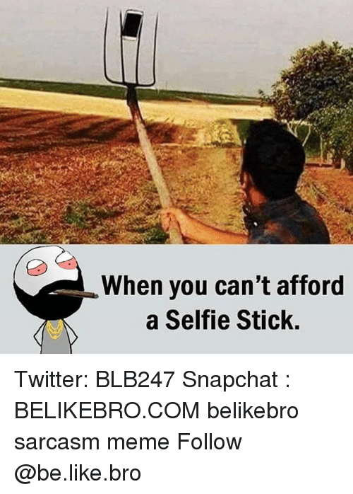when you can 39 t afford a selfie stick twitter blb247 snapchat belikebrocom belikebro sarcasm meme. Black Bedroom Furniture Sets. Home Design Ideas