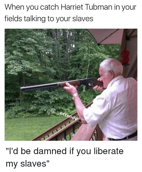 "Memes, Harriet Tubman, and 🤖: When you catch Harriet Tubman in your  fields talking to your slaves ""I'd be damned if you liberate my slaves"""