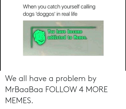 You Have Become Addicted To: When you catch yourself calling  dogs 'doggos' in real life  You have become  addicted to Memes. We all have a problem by MrBaaBaa FOLLOW 4 MORE MEMES.