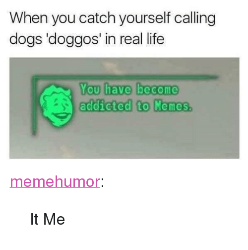 """You Have Become Addicted To: When you catch yourself callingg  dogs 'doggos' in real life  You have become  addicted to Memes.  to Menos <p><a href=""""http://memehumor.net/post/165394839886/it-me"""" class=""""tumblr_blog"""" target=""""_blank"""">memehumor</a>:</p> <blockquote><p>It Me</p></blockquote>"""