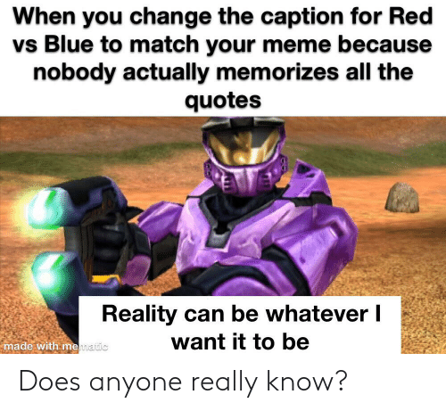 Red vs. Blue: When you change the caption for Red  vs Blue to match your meme because  nobody actually memorizes all the  quotes  Reality can be whatever I  want it to be  made with mematic Does anyone really know?