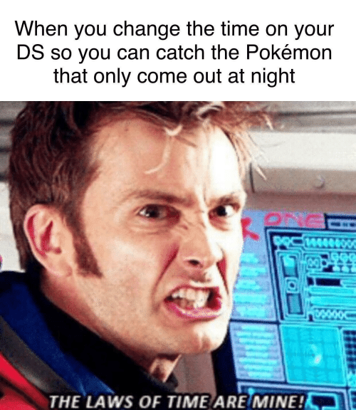 The Laws: When you change the time on your  DS so you can catch the Pokémon  that only come out at night  THE LAWS OF TIME ARE/MINE!