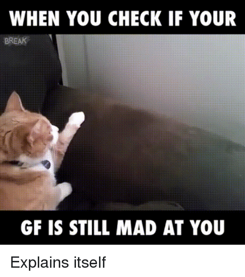 Still Mad At You: WHEN YOU CHECK IF YOUR  BREAK  GF IS STILL MAD AT YOU Explains itself