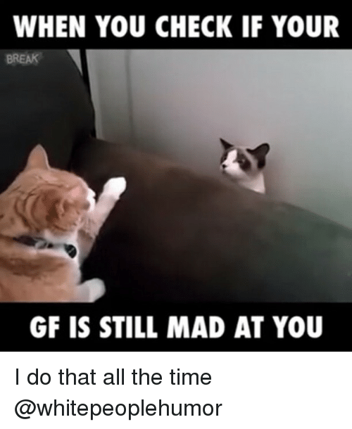 Still Mad At You: WHEN YOU CHECK IF YOUR  GF IS STILL MAD AT YOU I do that all the time @whitepeoplehumor