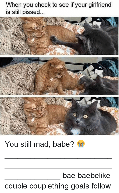 you still mad: When you check to see if your girlfriend  is still pissed You still mad, babe? 😭 _______________________________________________________________ bae baebelike couple couplething goals follow