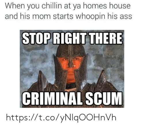 "Whoopin: When you chillin at ya homes house  and his mom starts whoopin his ass  STOP RIGHT THERE  r""  CRIMINAL SCUM https://t.co/yNlqOOHnVh"