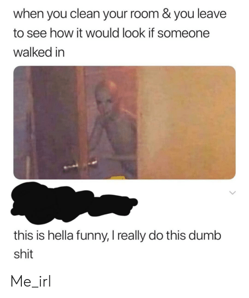 Hella Funny: when you clean your room & you leave  to see how it would look if someone  walked in  this is hella funny, I really do this dumb  shit Me_irl