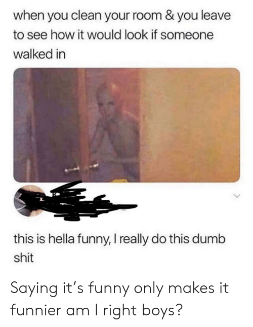 Hella Funny: when you clean your room & you leave  to see how it would look if someone  walked in  this is hella funny, I really do this dumb  shit Saying it's funny only makes it funnier am I right boys?