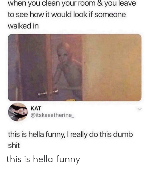 Hella Funny: when you clean your room & you leave  to see how it would look if someone  walked in  КАТ  @itskaaatherine  this is hella funny, I really do this dumb  shit this is hella funny