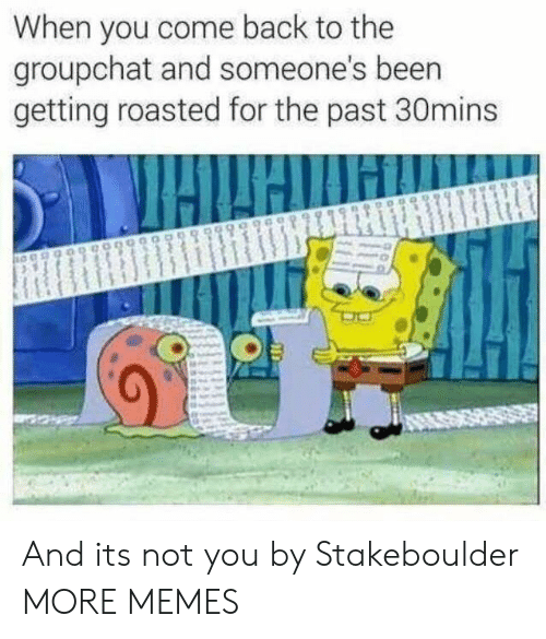 Getting Roasted: When you come back to the  groupchat and someone's beern  getting roasted for the past 30mins And its not you by Stakeboulder MORE MEMES