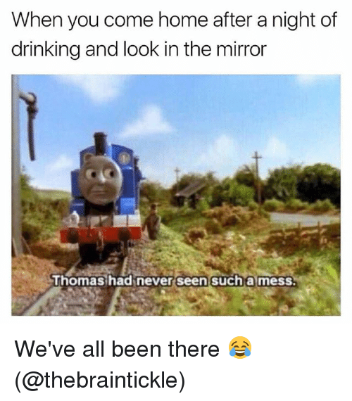 Drinking, Memes, and Home: When you come home after a night of  drinking and look in the mirror  Thomas had never seen such a mess We've all been there 😂 (@thebraintickle)