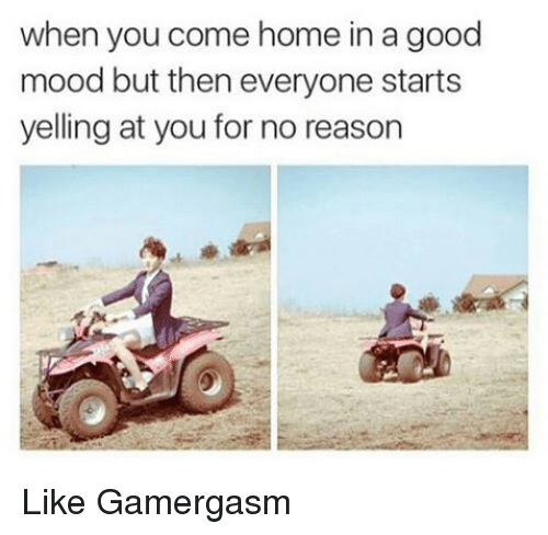 Memes, Mood, and Good: when you come home in a good  mood but then everyone starts  yelling at you for no reason Like Gamergasm