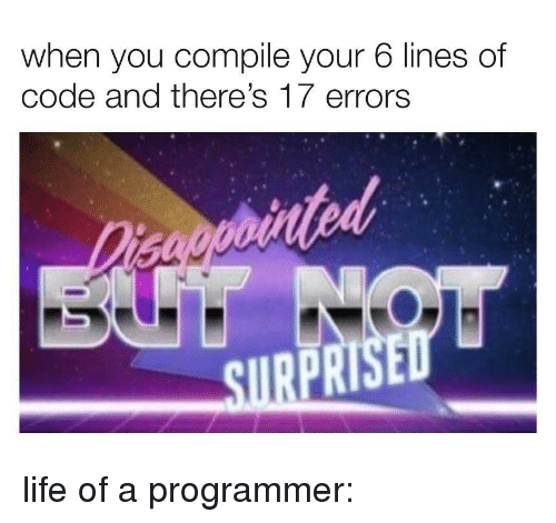 sire: when you compile your 6 lines of  code and there's 17 errors  tod  SIRE  PR life of a programmer: