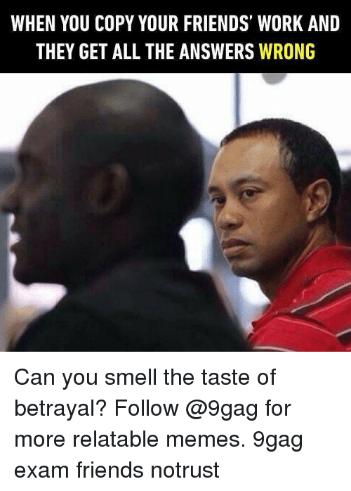 9gag, Friends, and Memes: WHEN YOU COPY YOUR FRIENDS WORK AND  THEY GET ALL THE ANSWERS WRONG Can you smell the taste of betrayal? Follow @9gag for more relatable memes. 9gag exam friends notrust