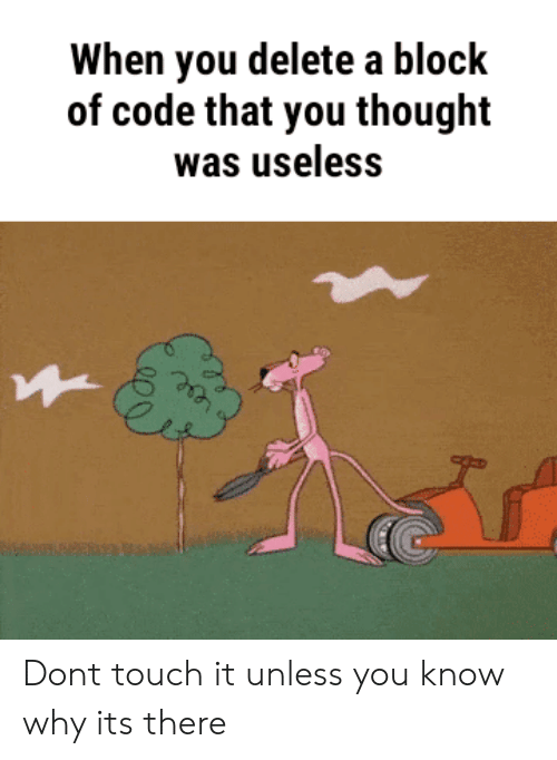 touch it: When you delete a block  of code that you thought  was useless Dont touch it unless you know why its there