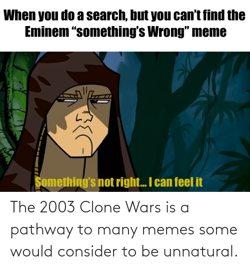 "Wrong Meme: When you do a search, but you can't find the  Eminem ""something's Wrong"" meme  Something's not right.. I can feel it The 2003 Clone Wars is a pathway to many memes some would consider to be unnatural."