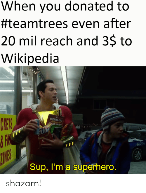 Im A: When you donated to  #teamtrees even after  20 mil reach and 3$ to  Wikipedia  CHES  BURNING COM  Hatanent  ritos  ZINES  Sup, I'm a superhero. shazam!