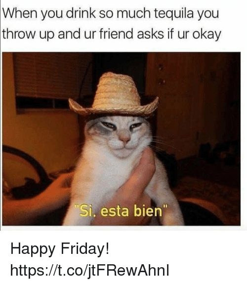 Friday, Funny, and Happy: When  you drink so much tequila you  throw up and ur friend asks if ur okay  Si, esta bien Happy Friday! https://t.co/jtFRewAhnI