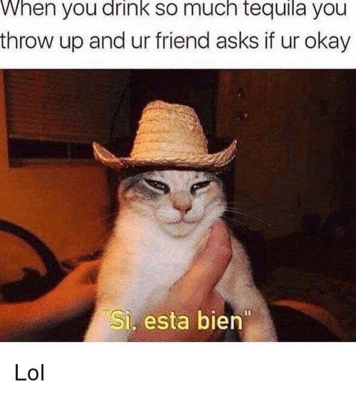Funny, Lol, and Okay: When you drink so much tequila you  throw up and ur friend asks if ur okay  Si, esta bien Lol
