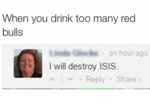 I Will Destroy Isis: When you drink too many red  bulls  . an hour ago  I will destroy ISIS.  Reply -Share