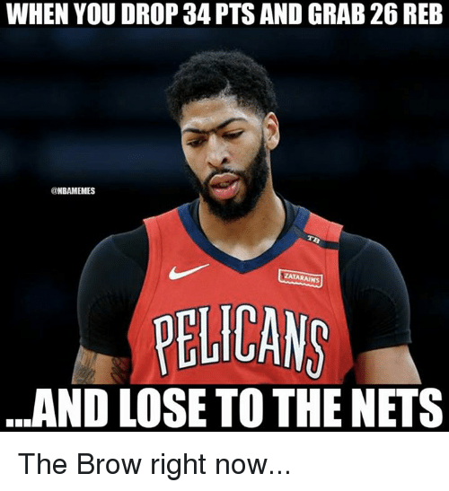 Nets: WHEN YOU DROP 34 PTS AND GRAB 26 REB  @NBAMEMES  ZATARAINS  PELICANS  ..AND LOSE TO THE NETS The Brow right now...
