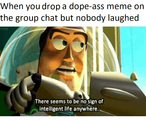 Ass Meme: When you drop a dope-ass meme on  the group chat but nobody laughed  There seems to be no sign of  intelligent life anywhere.