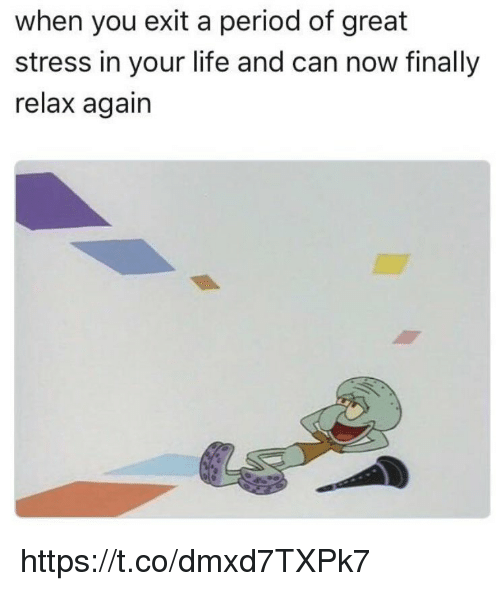 Life, Memes, and Period: when you exit a period of great  stress in your life and can now finally  relax again https://t.co/dmxd7TXPk7